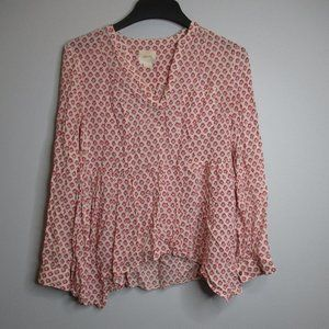 Maeve Anthropologie Top White/Pink Flower Size 4